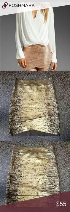 "BCBGMAXAZRIA ""Silvie"" Skirt Ash brown and gold spandex skirt. 90% Rayon, 9% Nylon, 1% Spandex. BCBGMAXAZRIA  Skirts"