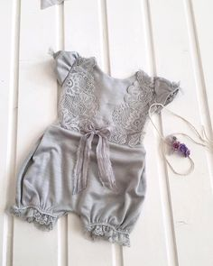 Cod5 baby girl overalls, new born overalls, lace , grey, photo props outfit, baby photography, tie back