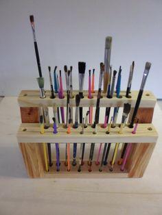 WOODEN Paint  Brush  Holder Paintbrush Stand Wood Brush Caddy Artist BRUSH RACK