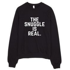 The Snuggle is Real Crew Neck Sweater Made in LA ($42) ❤ liked on Polyvore featuring tops, sweaters, crewneck sweaters, crew-neck tops, crew neck sweaters, crew neck tops and crew sweater