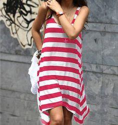 Striped Irregular Beach Dress