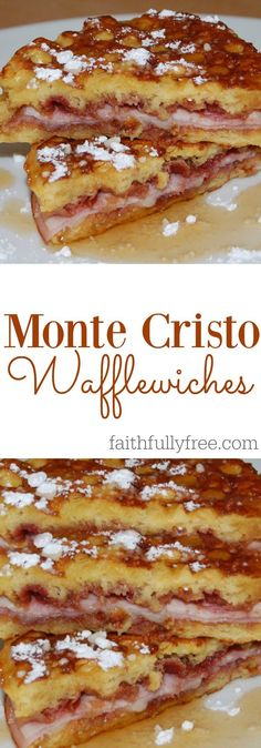 Monte Cristo Wafflewiches: Your New Favorite Food Seriously, this recipe is amazing! Monte Cristo Wafflewiches Recipe, one of our new favorite recipes, perfect breakfast, lunch or dinner idea! Breakfast Desayunos, Perfect Breakfast, Breakfast Dishes, Breakfast Recipes, Breakfast Sandwiches, Avacado Breakfast, Fodmap Breakfast, Gourmet Breakfast, Mexican Breakfast