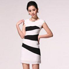 Black Stripe Short Sleeve Knit Dress White