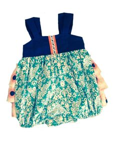 Navy Aqua Coral Ruffled Sunsuit Bubble Romper for girls