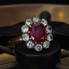 Just in and just in time for the 4th, this juicy Burma no heat Victorian ruby ring with chunky old cut diamond halo is giving us all the butterflies and fireworks today. DM for details #jogani #joganibh . #ruby #rubyred #diamond #diamonds #haloring #antique #antiquering #antiquejewelry #victorian #victorianjewelry #victorianring #showmeyourrings #gem #gemstone