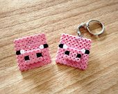 Inspired by Minecraft Pig keyring and badge