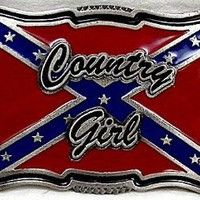 Amazon.com: COUNTRY GIRL RED  BELT BUCKLE,WITH REBEL FLAG: Clothing