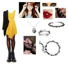 """""""Sally :3"""" by blackveilbrides1233 ❤ liked on Polyvore featuring moda, Wolford, Louche, MICHAEL Michael Kors, Dr. Martens y Bobbi Brown Cosmetics"""