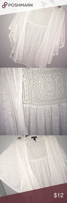 layering white crochet shaw great for layering. crochet cut-out on back. Style & Co Tops Tunics