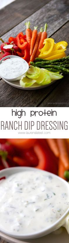This says: High Protein Ranch Dip Dressing Easy Dinner Recipes, Appetizer Recipes, Snack Recipes, Easy Meals, Cooking Recipes, Appetizers, Protein Snacks, High Protein, Healthy Snacks