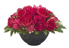 Natural Decorations, Inc. - Peony | Iron Lattice Bowl Black | Red Beauty
