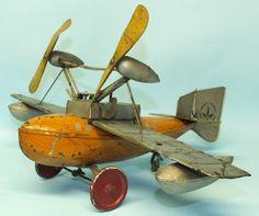 RARE 1930s PRE WAR BING AMPHIBIAN LAND & SEAPLANE TIN WINDUP TOY AIR PLANE | Toys of Times Past