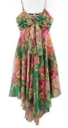 Green Spaghetti Strap Floral Chiffon Dress pictures