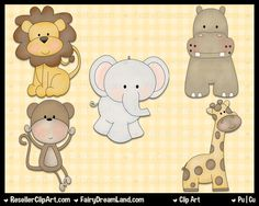 Baby Jungle Animals Clip Art - Commercial Use Graphic Image Png Digital Clipart Set - Instant Download - Elephant Tiger Giraffe Monkey Hippo by ResellerClipArt on Etsy https://www.etsy.com/listing/188445356/baby-jungle-animals-clip-art-commercial