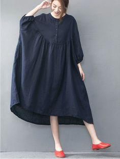 B00 Casual Oversize Loose Skirt Knew Length Linen Womens Dress Cocktail Red Blue #YFS #Maxi #Party