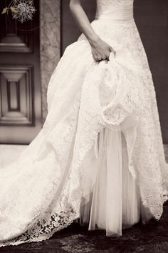 Gorgeous lace wedding dress.