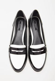 $27, Black and White Leather Loafers: Forever 21 Faux Patent Penny Loafers. Sold by Forever 21. Click for more info: https://lookastic.com/women/shop_items/161340/redirect