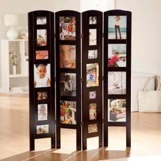 Photo room divider...there are ones with photos on both sides or you can do a photo collage on one side