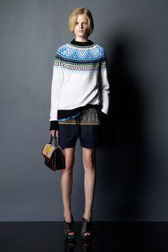 Pretty aqua/turquoise yoke Knit Fashion, Cute Fashion, Look Fashion, Fashion Show, Womens Fashion, Fashion Design, Icelandic Sweaters, Fair Isle Pattern, Fair Isle Knitting