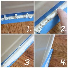 How to caulk a perfectly straight line:    1. Squirt some caulk in the area between the tape.    2. Smooth caulk with your fingertip.    3. Continue smoothing.     4. While the caulk is still wet, slowly and gently pull up the tape.  If you wait until the caulk is dry then it will come up as well.