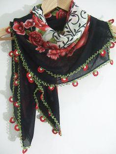Turkish needle lace Scarf yemeniwomen scarf by MELISAELA on Etsy, $29.90