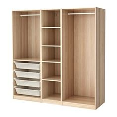 IKEA PAX Wardrobe White stained oak effect 200 x 58 x 201 cm 10 year guarantee. Read about the terms in the guarantee brochure. Pax Corner Wardrobe, Ikea Pax Wardrobe, Wardrobe Storage, Bedroom Wardrobe, Wardrobe Closet, Bedroom Cupboard Designs, Bedroom Closet Design, Bedroom Cupboards, Wardrobe Design