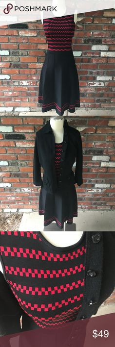 "Pink Tartan knit dress Red and black plaid knit dress!  Adorable and in excellent condition!  Measures 38"" long and 14"" armpit to armpit approximately Pink Tartan Dresses Midi"
