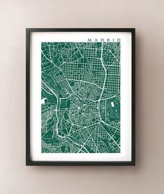 Madrid Map Art   Spain Poster Print by CartoCreative on Etsy, $20.00