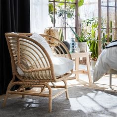 Rattan Headboard, Daybed, Rattan Armchair, White Armchair, Bright Rooms, Quilt Cover, Hanging Chair, Natural Materials, Bed Frame
