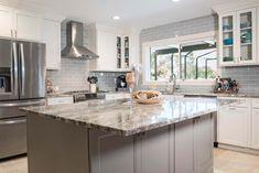 Coastal Alabaster Kitchen with Blue-Gray Subway Tile Backsplash Gray Subway Tile Backsplash, Grey Subway Tiles, Kitchen Desks, Basement Kitchen, Grey Cabinets, Kitchen Cabinets, Kitchen Reno, Kitchen Remodeling, Remodeling Ideas