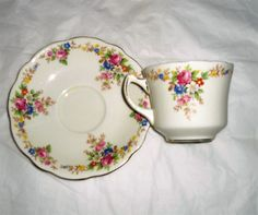 vintage Foley china tea cup and saucer, vintage china tea cup and saucer, Foley china, pattern 1484, floral teacup and saucer, 1930's china by DivaDecades on Etsy