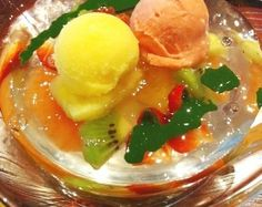 Fruit jelly with green tea paste