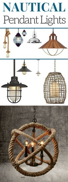 Nautical Pendant Lights in Rustic, Modern, Vintage, Coastal, and Industrial Styles.  Check out this huge list of hanging pendant light fixtures in a nautical theme.