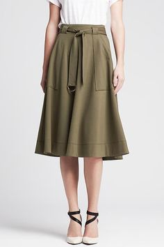 The Corporate Girl's Guide To Workwear #refinery29  http://www.refinery29.com/conservative-office-wear#slide-4  The Military-Style Skirt Olive green is basically a neutral.