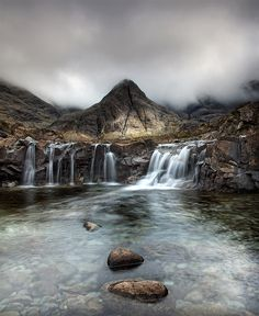 Fairy Pools Isle of Skye Scotland the fairy pools with the black cullin mountains in the background