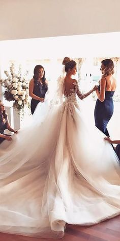 18 Princess Wedding Dresses For Fairy Tale Celebration ❤️ princess wedding dresses ball gown lace long sleeves illusion back george elsissa ❤️ Full gallery: https://weddingdressesguide.com/princess-wedding-dresses/ #bride #wedding #bridalgown