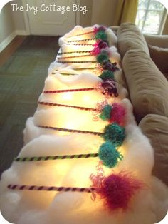 Abby Cadabby Party (but I really pinned it for this picture of the lights under the faux snow! Other great decoration ideas, too!)