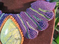 Handmade Serpentine Macrame Necklace Purple & Green. $79,00, via Etsy.
