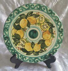 Medusa Positano Italty Clay Wall Plate Trivet Green Scroll Yellow Lemons Fruit