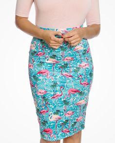 'Naomi' Tropical Flamingo Print Pencil Skirt - Bottoms - Clothing