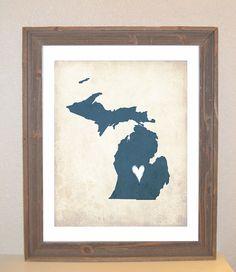 Michigan Love State Customizable Art Print by mereleemade on Etsy, $15.00
