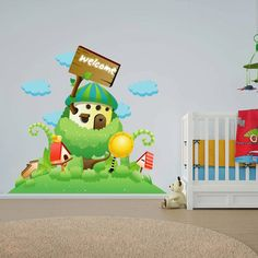 cik5 Full Color Wall decal fairy magic tree house children clouds children's room