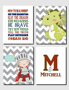 Boy Nursery Decor, Knights and Dragons Wall Art, Kids Wall Art, Playroom Rules, Initial and Name, Toddler Boy, Set of 4, Prints Canvas by vtdesigns on Etsy