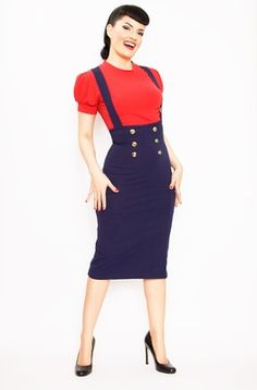 50s style Rockabilly Maria High Waist Pencil Skirt Navy with Buttons