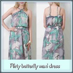 ☀️SUMMER SALE☀️Butterfly fully lined chiffon maxi 🌸Brand new, new arrival IN MED AND LARGE. Gorgeous grey,pink, muted tones in a beautiful bitterly motif. Semi-sheer chiffon overlay, but NOT at all see through, strappy halter front neckline and straps in the back. Side slits and smocked waistline for a comfortable yet flirty silhouette. Amazing quality dress, perfect for any occasion💐🌸🌷 Dresses