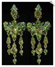 Green Swarovski Crystal Chandelier Clip On Earrings $58 @ www.whimzgirlclipearrings.com