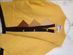 Sweatshirt Cardigan Gold with Browns and Tan Size Medium - pinned by pin4etsy.com