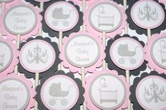 Carriage Baby Shower Cupcake Toppers (24)  - Pink, White  Gray by The Party Paper Fairy