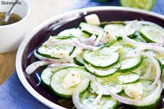 Cucumber with Feta and Herb Salad is a perfectly refreshing side dish for this time of year.  #cucumbersalad #feta #herbs