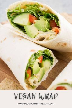 This vegan wrap recipe is perfect for light lunches or a healthy meal on the go. Tortillas are filled with hummus and fresh veggies. Best Lunch Recipes, Healthy Sandwich Recipes, Veggie Sandwich, Quick Dinner Recipes, Healthy Eating Recipes, Vegan Recipes, Quick Easy Meals, Vegan Wraps, Wrap Recipes